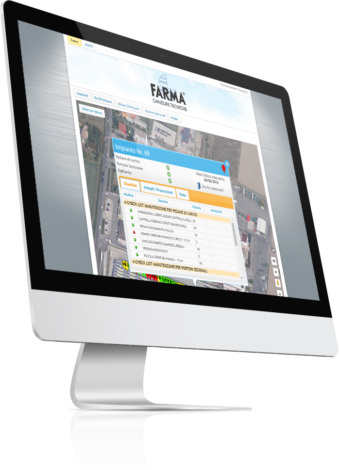 Fermo immagine del gestionale di controllo degli impianti manutenuti da Farma